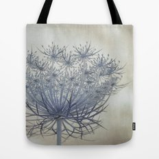 Vintage Wildflower Botanical Queen Anne's Lace in Blue Tote Bag
