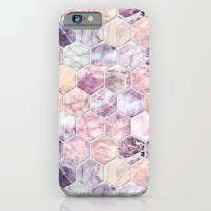 Rose Quartz and Amethyst Stone and Marble Hexagon Tiles iPhone 6 Slim Case