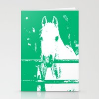 White Horse Forest Green Stationery Cards
