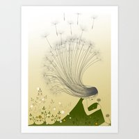 the girl with dandelion hair Art Print