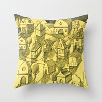 Moonlit Village Throw Pillow