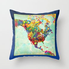 North America Splattered Throw Pillow