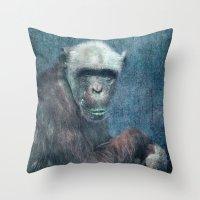 Blue Monkey Throw Pillow