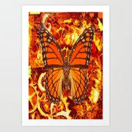 Hot Monarch Butterfly Em… Art Print