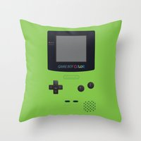 GAMEBOY Color - Green Throw Pillow