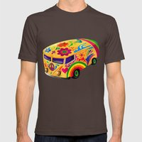 The Flower Power Mini Bus Mens Fitted Tee Brown SMALL