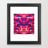 Abstract symmetric geometric triangle texture pattern design in diabolic future red Framed Art Print