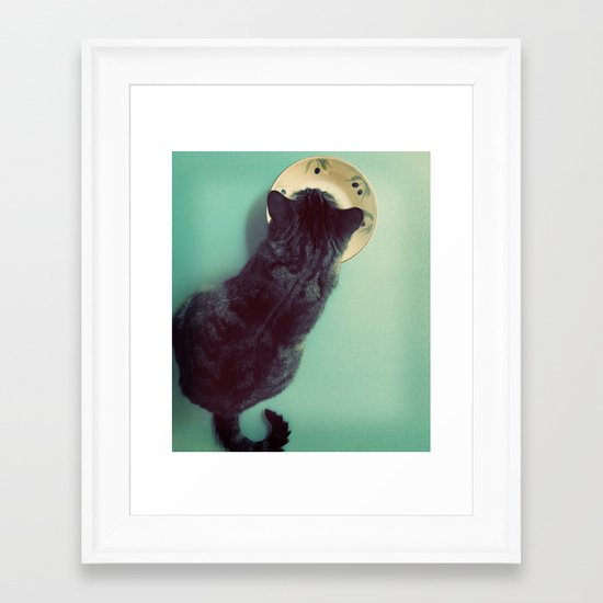 Cat and Saucer Framed Art Print