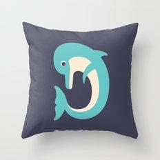 Letter D // Animal Alphabet // Dolphin Throw Pillow