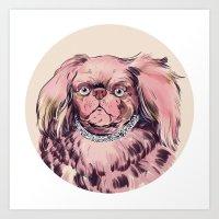 Pink Dog Art Print
