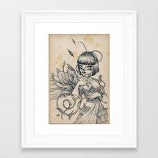 Girl and Flower Framed Art Print