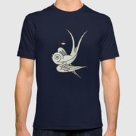 Peace Sparrow Mens Fitted Tee Navy SMALL
