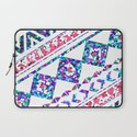 Modern Abstract Geometric Aztec Pattern Pink Teal Laptop Sleeve