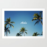 Aloha Palm Trees Art Print