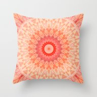 Mandala Soft Orange Throw Pillow