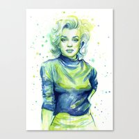 Marilyn Portrait Watercolor Painting Canvas Print