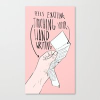 Touching Your Handwriting Canvas Print