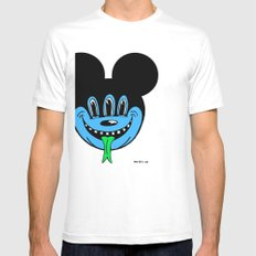 REPTILIAN MICKEYES. (Blue Face). Mens Fitted Tee SMALL White