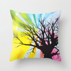 Old tree with Rainbow Throw Pillow