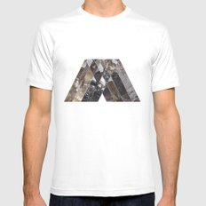 V MTHSN GEO White Mens Fitted Tee SMALL