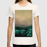 Night Sky Flowers Womens Fitted Tee Natural SMALL