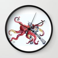 Robot Octopus Tango Date Wall Clock