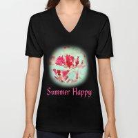 Pretty Pink Summer Flowe… Unisex V-Neck