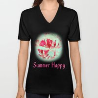 pretty pink summer flowers, summer happy floral photo art. Unisex V-Neck