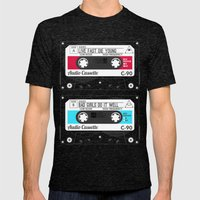 Audio Cassette SIDE A ▲LIVEFASTDIEYOUNG▲ RED Mens Fitted Tee Tri-Black SMALL