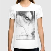 Siberian Husky  Womens Fitted Tee White SMALL