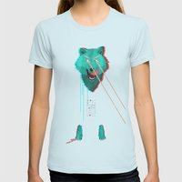 Wolf With F**king lasers Womens Fitted Tee Light Blue SMALL