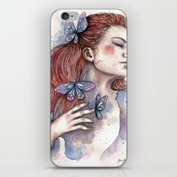 Girl with a butterfly II, watercolor artwork / illustration iPhone & iPod Skin