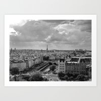 View from Notre Dame B&W Art Print