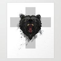 bear cross Art Print