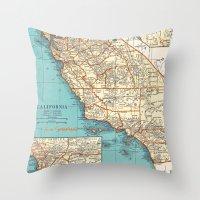 So Cal Surf Map Throw Pillow