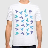 ORIGAMI BIRDS Mens Fitted Tee Ash Grey SMALL