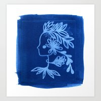 Blue goddess Art Print
