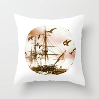 Telescope 5 tall ship Throw Pillow