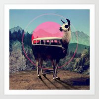 vw Art Prints featuring Llama by Ali GULEC
