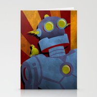 Retro Robot with Yellow Bird Stationery Cards