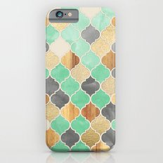 Charcoal, Mint, Wood & Gold Moroccan Pattern iPhone 6 Slim Case