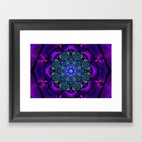 Green Hearts and Purple Flower Framed Art Print