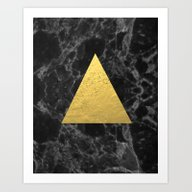 Black Gold Marble Tri - … Art Print
