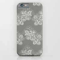 White On Grey Lace iPhone 6 Slim Case