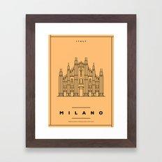 Minimal Milano City Poster Framed Art Print