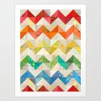 Chevron Rainbow Quilt Art Print