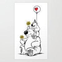 Papa Bear & Baby Bear Art Print