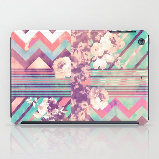Retro Pink Turquoise Floral Stripe Chevron Pattern iPad Case