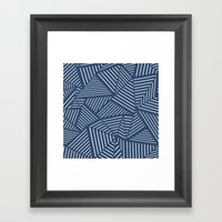 Abstraction Linear Zoom Navy Framed Art Print