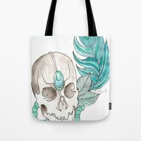 Skull Feather Tote Bag